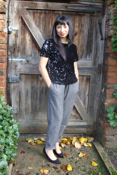 JIgsaw herringbone trackpants & flocked sequin top