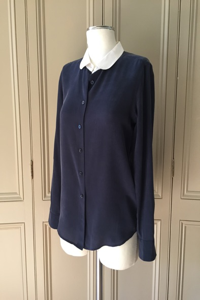 Equipment navy two-tone silk blouse