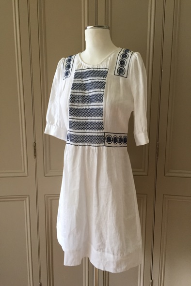 See By Chloe white linen smocked dress