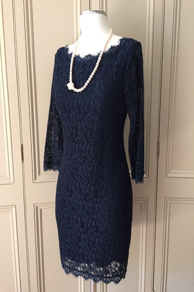 DVF navy lace dress