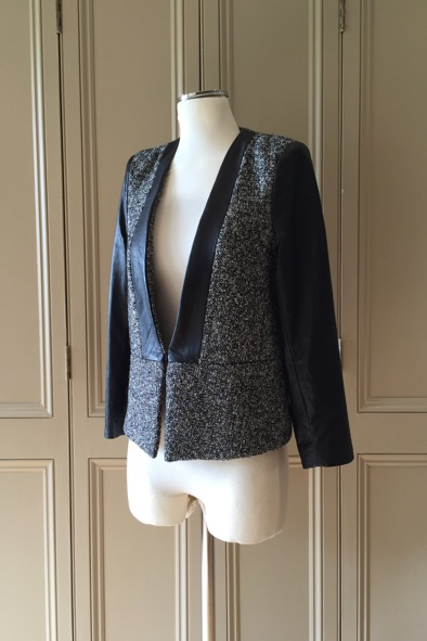 Malene birger two tone tweed and leather jacket