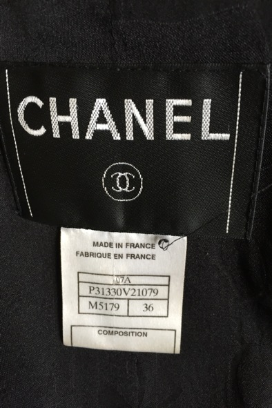Chanel black and gold lurex jacket with pearl flower buttons