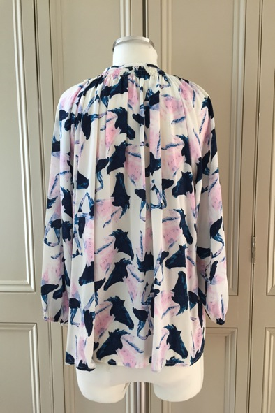 Tucker horse print silk blouse