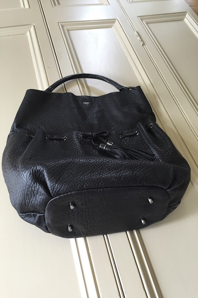 Anya Hindmarch black battered leather Lacing hobo bag