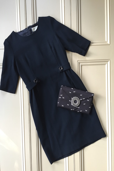 Goat navy dress & Wilbur and Gussie Ant clutch