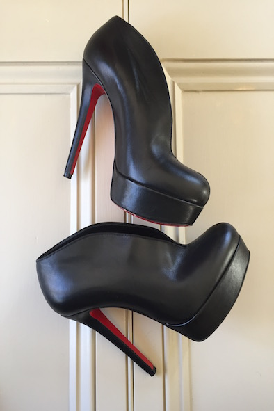 Christian Louboutin black leather heel