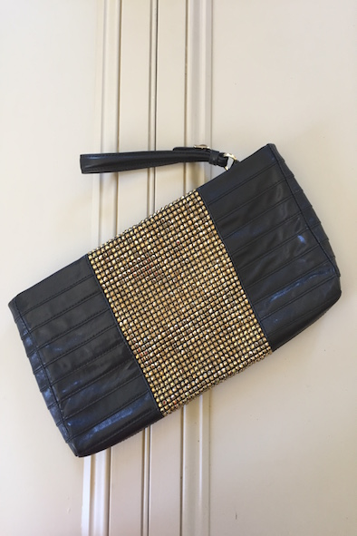 HERVE LEGER OVERSIZED BLACK LEATHER AND GOLD EMBELLISHED CLUTCH