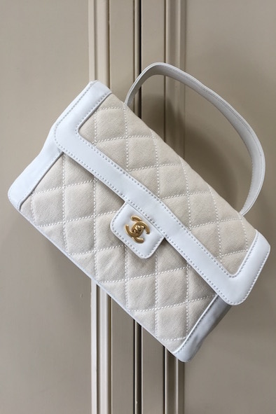 Chanel quilted fabric and leather bag