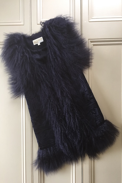 Michael Kors navy embroidered mongolian lamb fur gilet