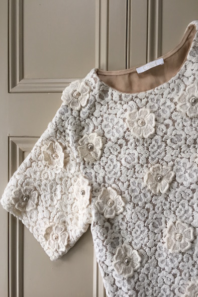 Chloe cream lace top with crochet flowers