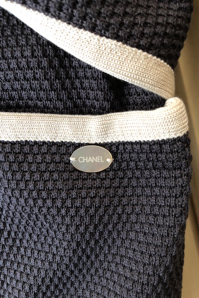 Chanel grey silk knitted blazer with belted tie