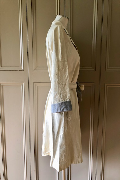 Brunello Cucinelli white leather belted coat