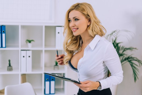 sexy blonde model in office