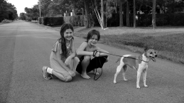 Julia, John and Zoe in front of our house about to embark on a walk July 14, 2012