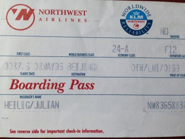 1996 Northwest Airlines boarding pass