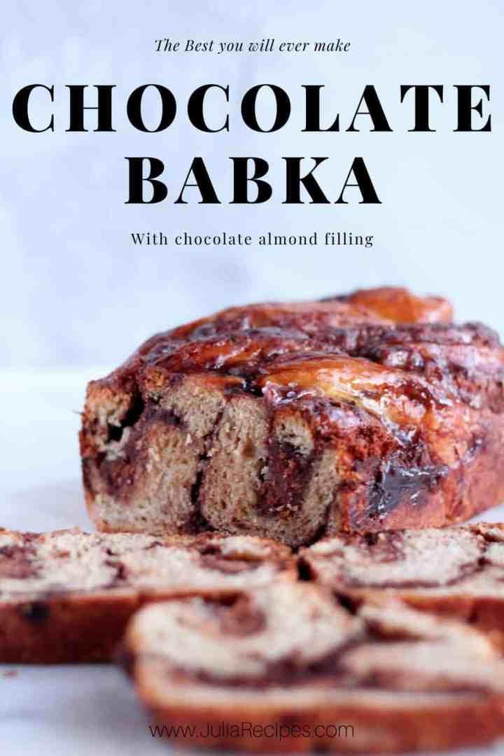chocolate babka with almond filling
