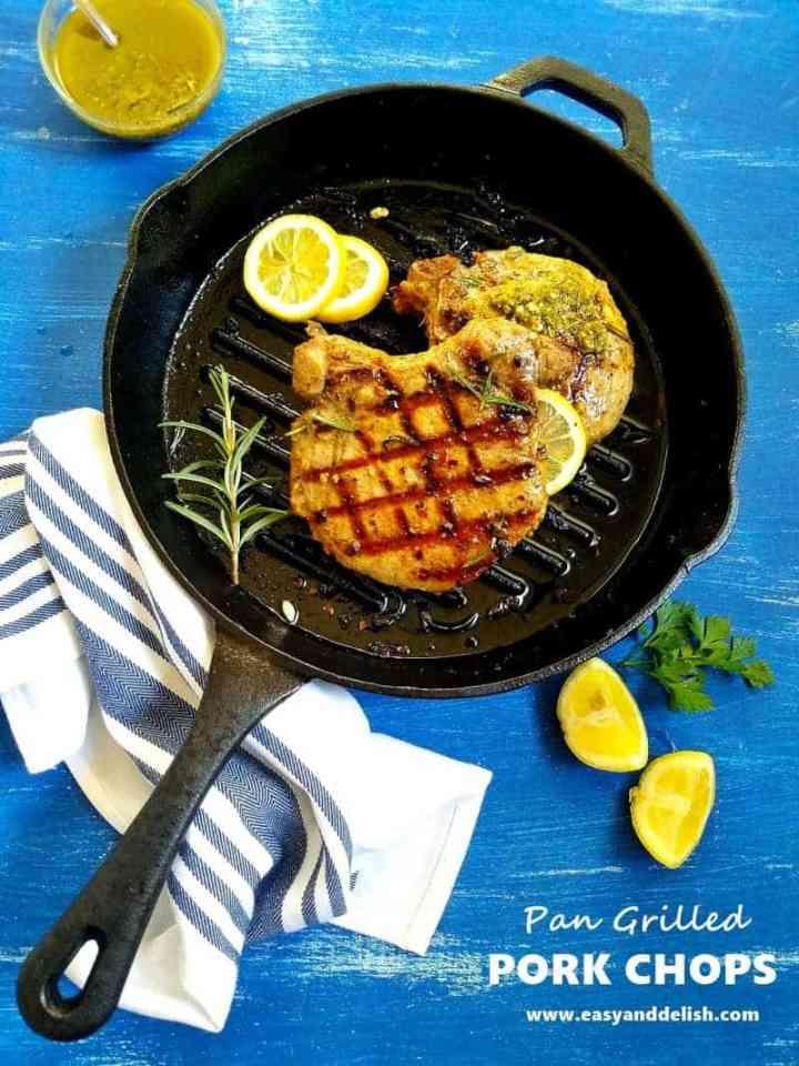 grilled pork chops on pan