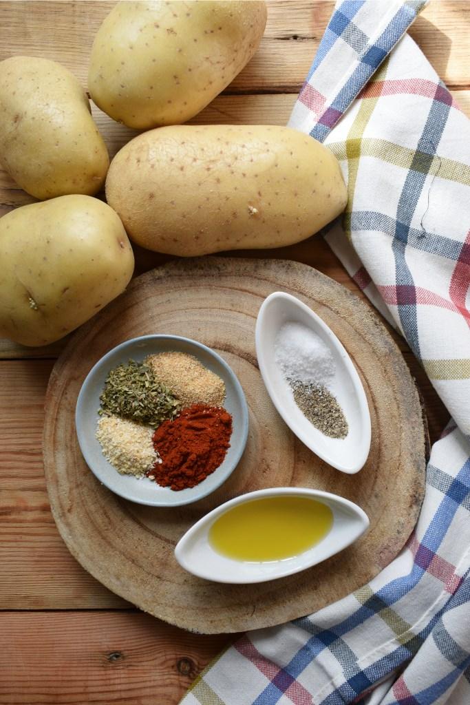 ingreditnts ot make the spiced potatoes