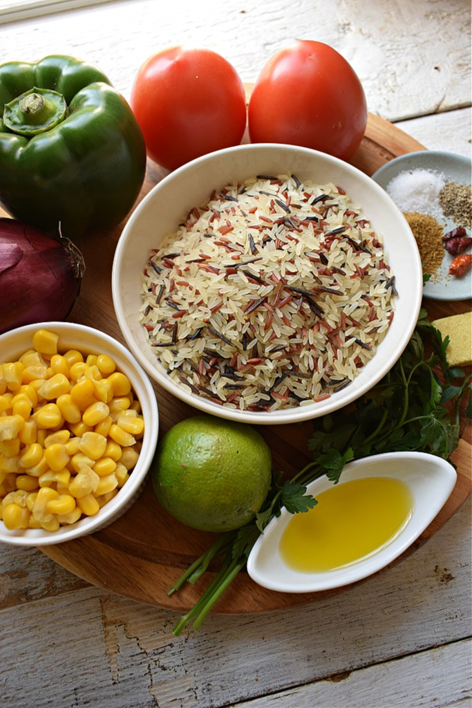 Ingredients to make the Mexican Rice