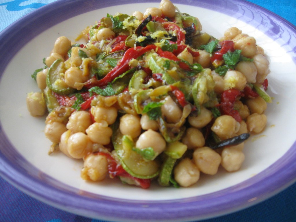 Close up of the chickpea salad