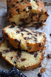 close up of Chocolate Chip Loaf Cake