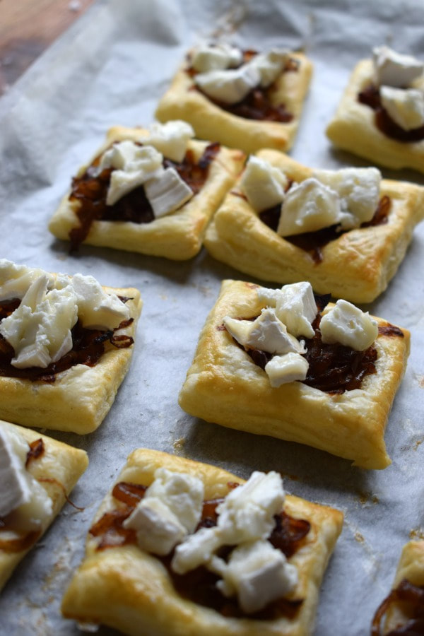 puff pastry topped with caramelized onions and goat cheese