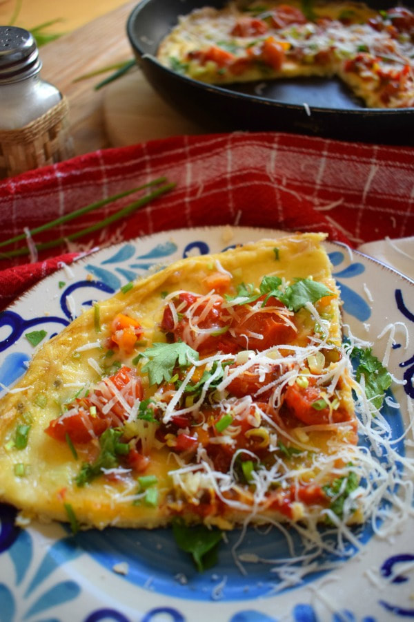 Cherry Tomato Omelette on a plate