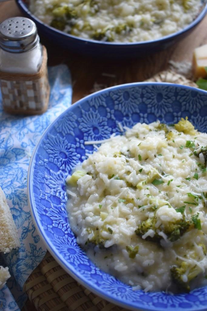 Close up of the creamy broccoli risotto