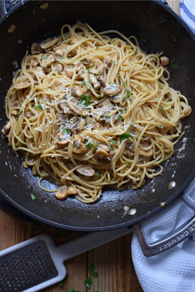 Easy Garlic Mushroom Spaghetti in a skillet