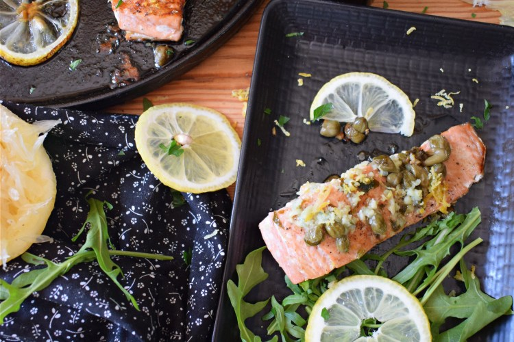 over head table setting view of the zesty pan seared salmon