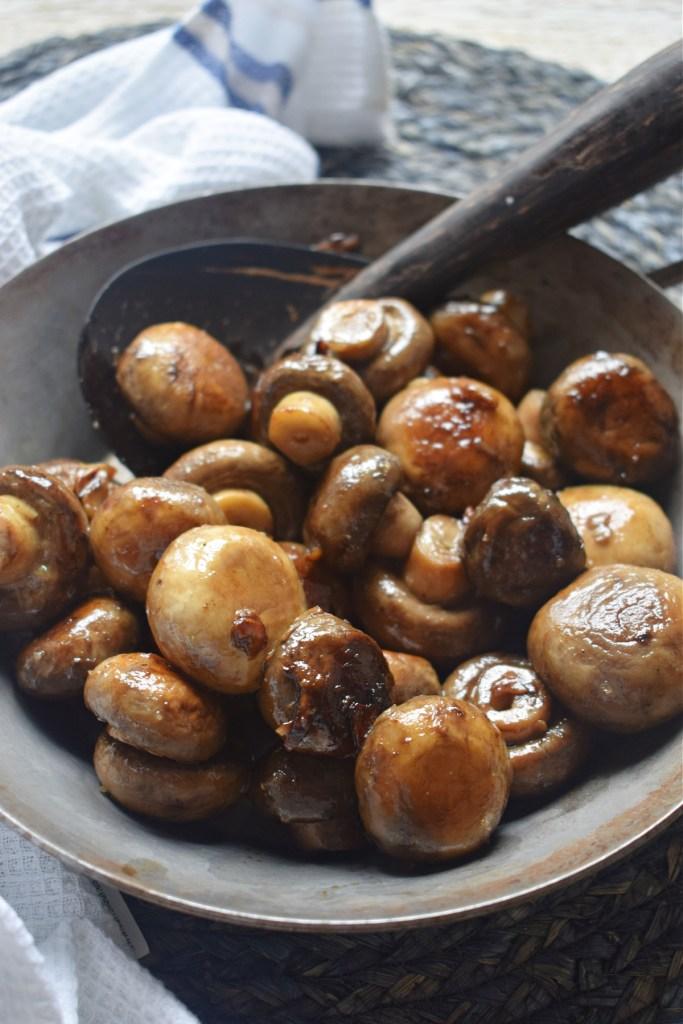 garlic mushroom in a skillet