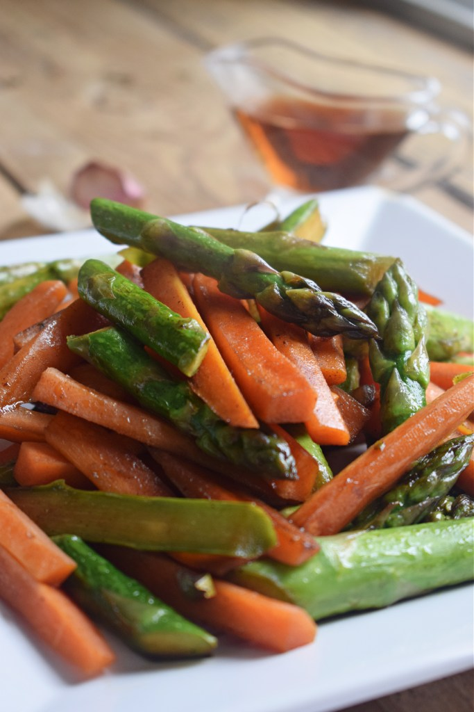 close up of the sherry sauteed asparagus and carrots