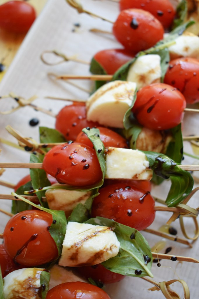close up of the tomato and mozzarella appeitzers