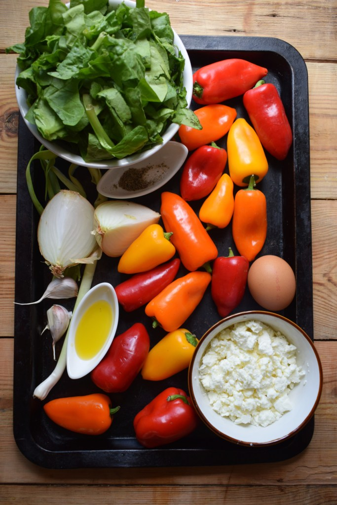 ingredients to make the Feta & Spinach Stuffed Mini Peppers