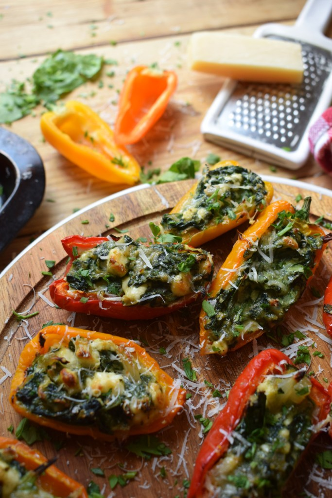 close up view of the stuffed feta and spinach peppers