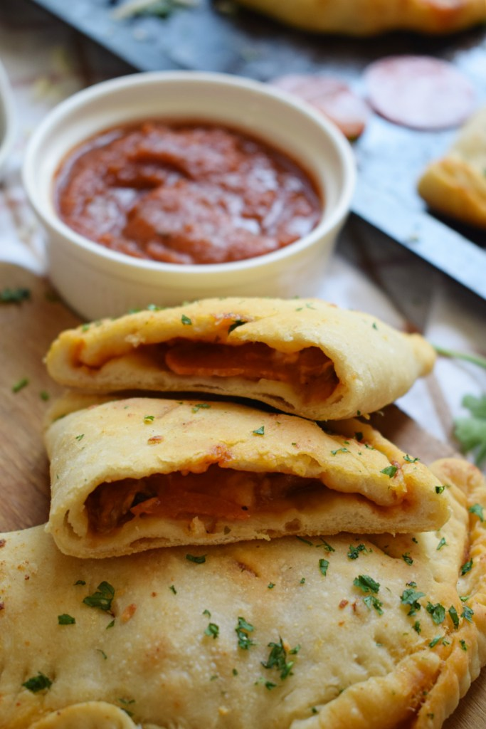 close up of the homemade pepperoni calzones
