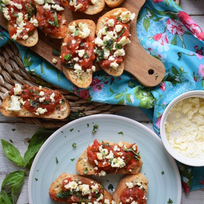 Roasted Tomato And Feta Bruschetta
