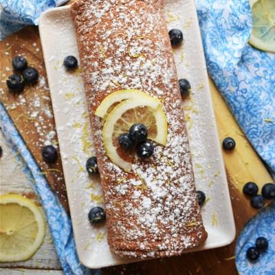 Lemon Blueberry Swiss Roll Cake