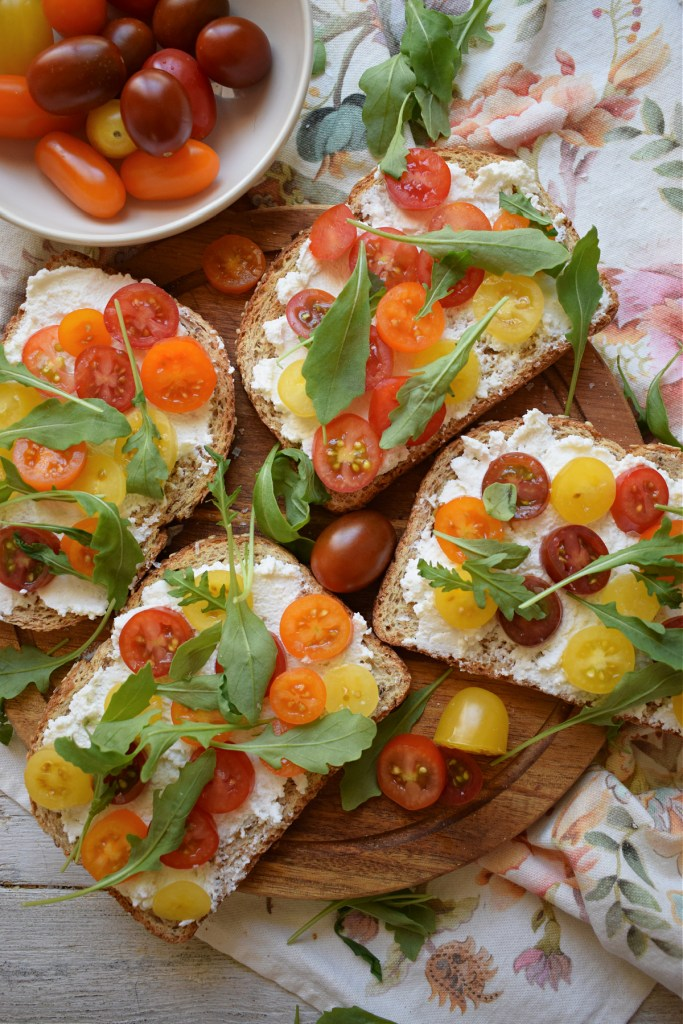 over head view of the ricotta and tomato toast recipe