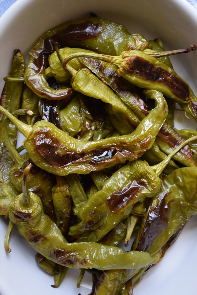 close up of the oven roasted italian green peppers