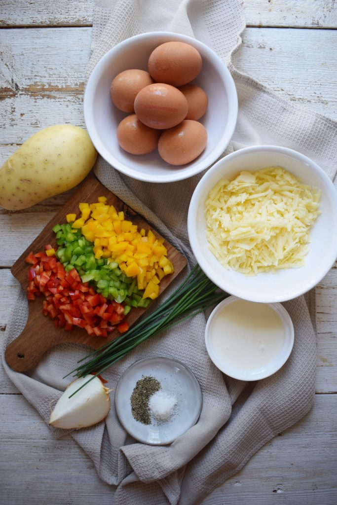 ingredients to make the egg breakfast muffins