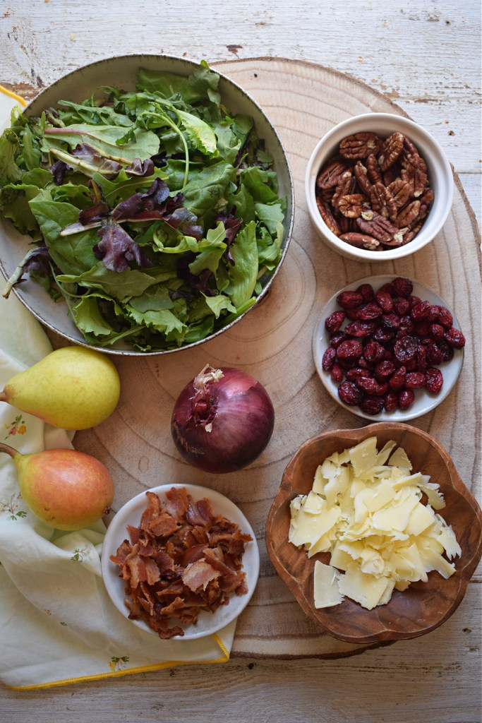 Ingredients to make the Pear and Pecan Salad