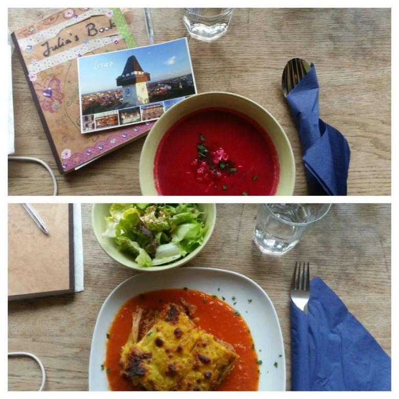 Vegan menu in Graz, Austria