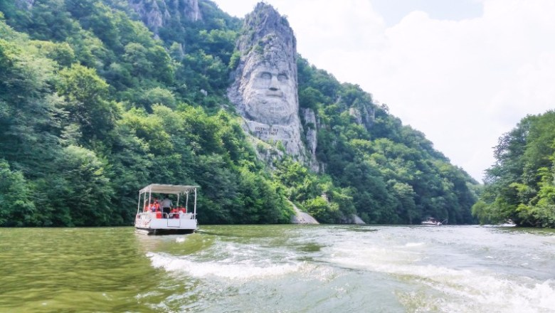 Decebal's statue Cazanele Dunarii the Great and Small Danube Gorge