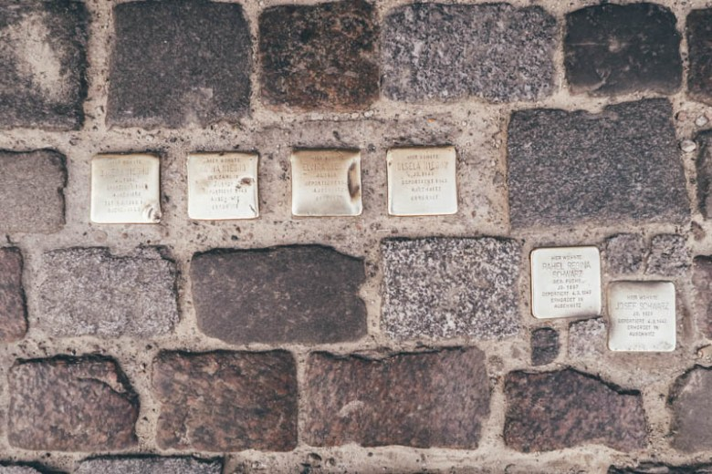 golden plates in berlin with the names of the deported jewish
