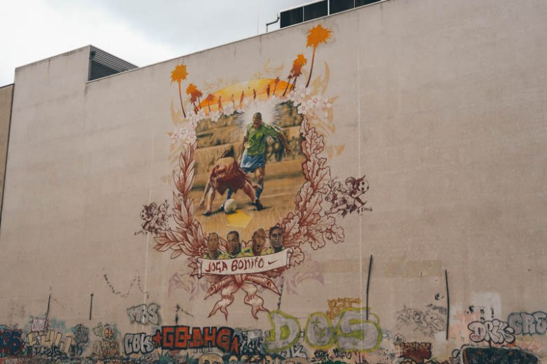World Cup mural Ronaldo Kunsthaus Tacheles Wombats city hostel berlin self guided walking tour central Berlin