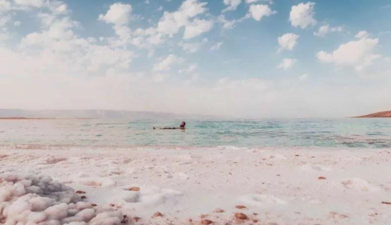 Floating in the Dead Sea in Jordan