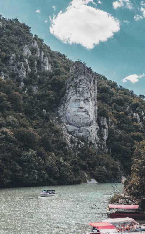 places to see in romania cazanele dunarii Danube gorges Dobova motor boat tour decebal sculpture