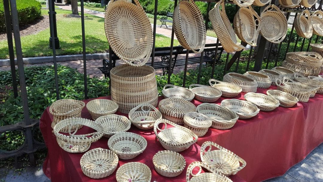 Lowcountry of Charleston SC - sweet grass baskets made by the descendants of the enslaved African people. Geechee Gullah culture