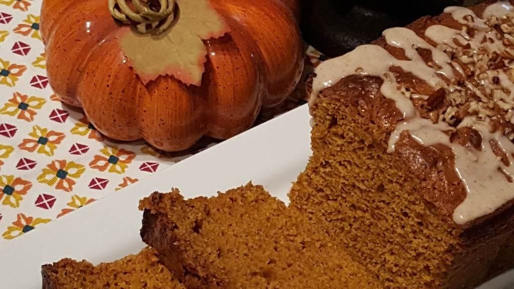 Delicious homemade pumpkin bread with glaze